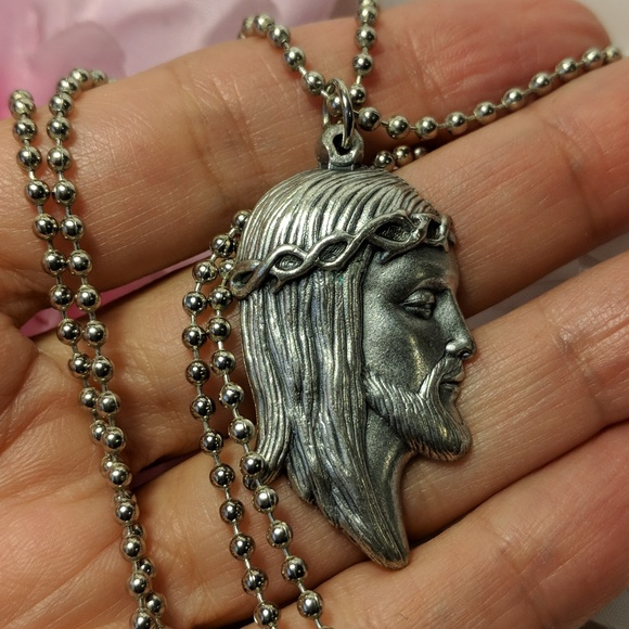 Jewelry jesus crown of thorns pendant long silver necklace poshmark jesus crown of thorns pendant long silver necklace aloadofball Images